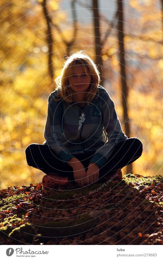 Human being Youth (Young adults) Calm Forest Autumn Contentment Wait Blonde Sit Meditative Long-haired Rest Woodground Young woman Woman