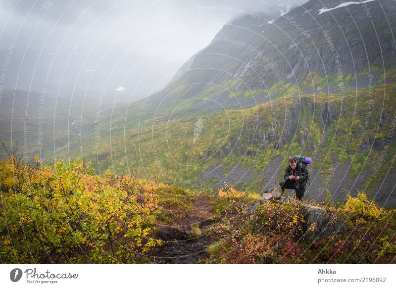 Young man in autumn landscape of Norway, for dreaming Life Harmonious Senses Calm Vacation & Travel Adventure Far-off places Mountain Hiking