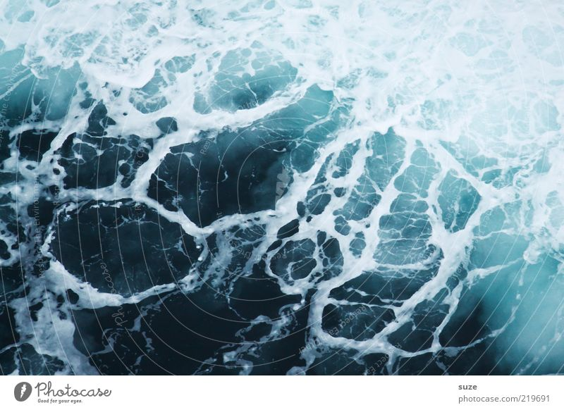 Nature Water Ocean Blue Dark Cold Waves Environment Deep Elements Foam Abstract White crest Copy Space Surface of water