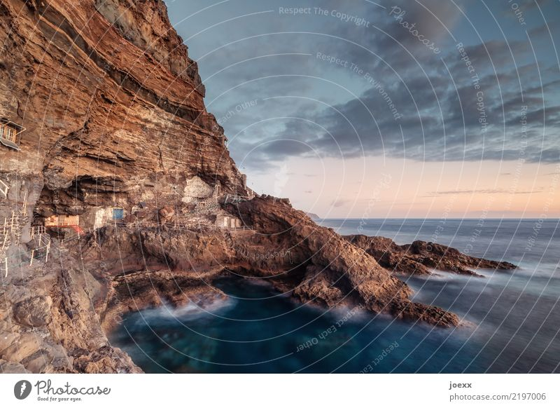 live better Water Sky Clouds Horizon Summer Rock Ocean Island Cliff La Palma Spain House (Residential Structure) Hut Wall (barrier) Wall (building) Old Gigantic