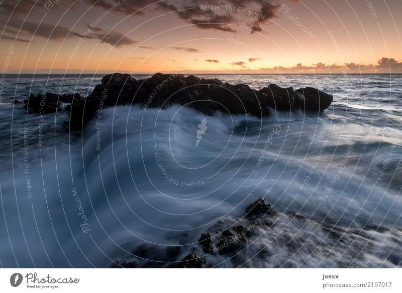 Sky Blue Water Ocean Clouds Black Orange Rock Horizon Waves Wanderlust Maritime