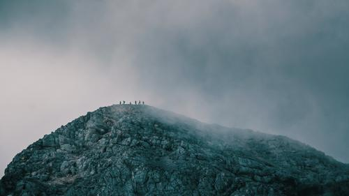 summiteers Environment Clouds Storm clouds Bad weather Gale Fog Cold Mountain Peak Mountaineering Hiking Climbing Rock Alps Point Target Threat Group Team