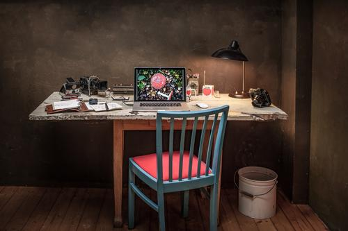Vintage Workspace Lifestyle Style Flat (apartment) Interior design Decoration Furniture Desk Work and employment Office work Workplace Advertising Industry
