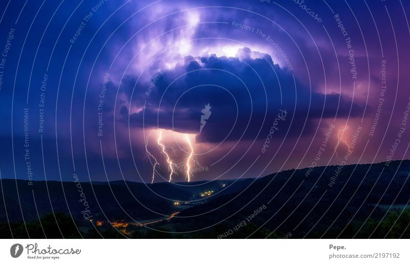 thunderstorm cell Nature Landscape Bad weather Storm Rain Thunder and lightning Lightning Threat Dark Blue Violet Valley Hail Colour photo Exterior shot Evening