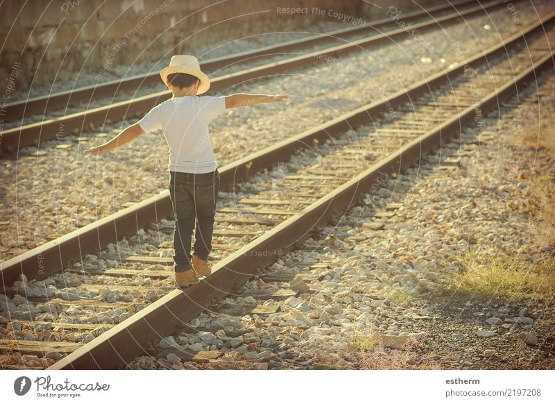 child on train tracks Child Human being Vacation & Travel Loneliness Joy Lifestyle Emotions Movement Happy Playing Freedom Trip Masculine Transport Infancy