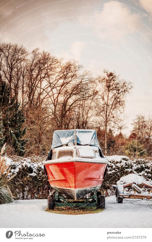 snow blind Nature Sky Winter Ice Frost Snow Park Navigation Motorboat Luxury Red Watercraft To hibernate Parking Parking area Parking lot One-eyed