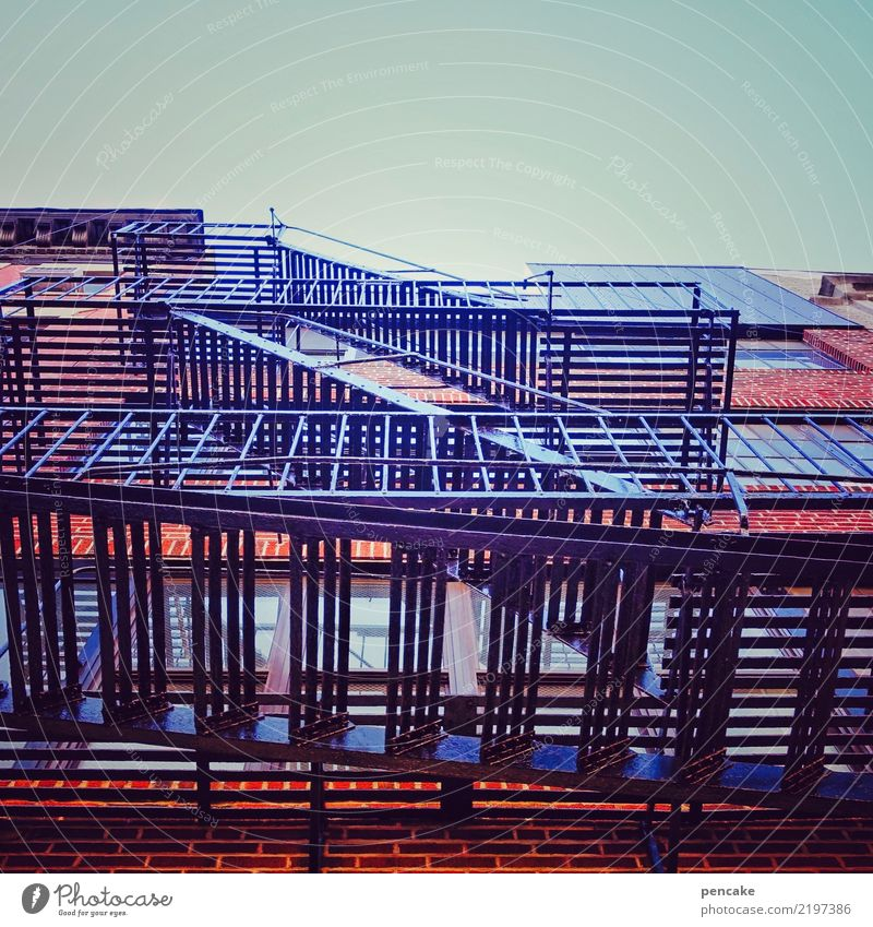 staircase Sky Cloudless sky Downtown House (Residential Structure) High-rise Manmade structures Building Architecture Stairs Facade Esthetic Retro Design