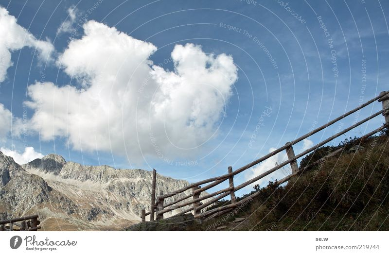 Sky Blue Summer Calm Clouds Loneliness Autumn Mountain Lanes & trails Brown Alps Curiosity Fence Beautiful weather South Tyrol Wooden fence