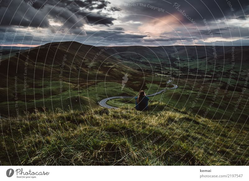 Human being Nature Summer Landscape Relaxation Calm Far-off places Dark Lifestyle Adults Meadow Grass Freedom Trip Contentment