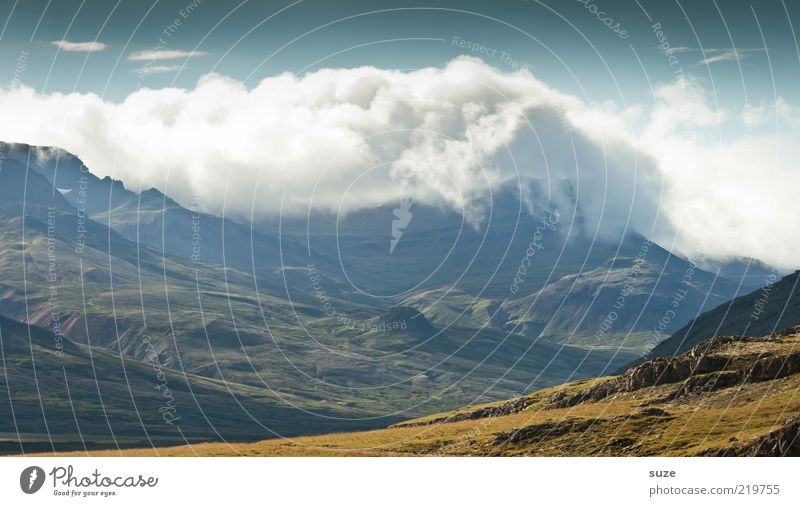 Nature Sky Clouds Mountain Landscape Environment Fantastic Exceptional Peak Iceland Beautiful weather Mystic Valley Slope Plain Massive