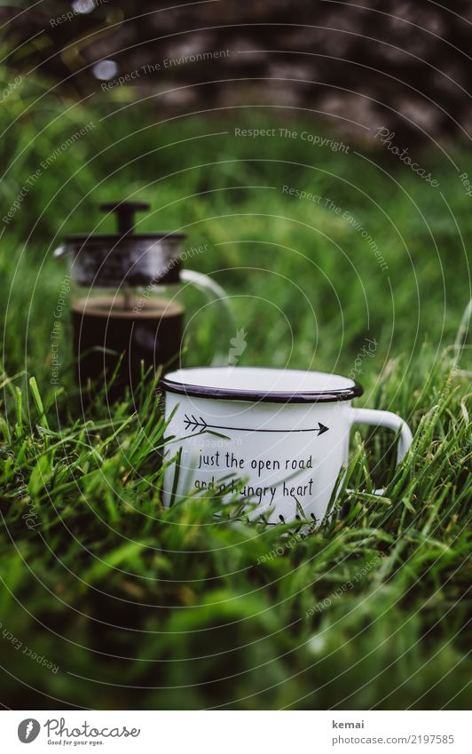 Just the open road... and some coffee. Beverage Hot drink Coffee Mug Enamel Coffee mug cafetiere french press Lifestyle Harmonious Well-being Relaxation Calm