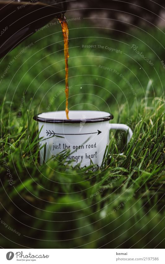 Camping + coffee = <3 Beverage Hot drink Coffee Cup Enamel Lifestyle Harmonious Well-being Contentment Relaxation Calm Leisure and hobbies Vacation & Travel