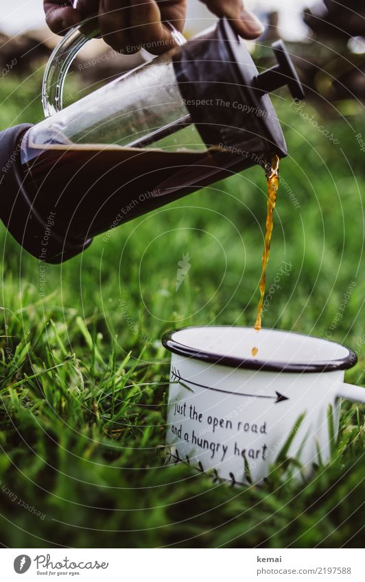 The first coffee Beverage Hot drink Coffee Mug Coffee pot Lifestyle Harmonious Well-being Contentment Relaxation Calm Fragrance Leisure and hobbies Trip