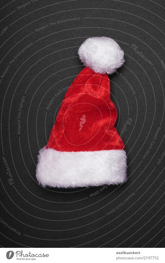 Santa hat Design Feasts & Celebrations Christmas & Advent Cap Red Black White Tradition Santa Claus Christmas decoration Santa Claus hat Dark background Card