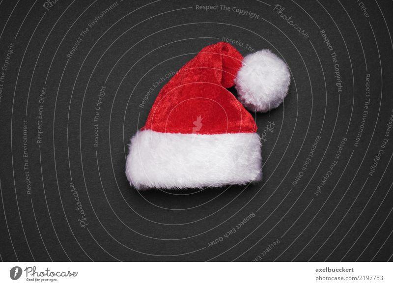 Santa hat Design Christmas & Advent Cap Red Black White Tradition Santa Claus Christmas decoration Santa Claus hat Colour photo Studio shot Close-up Deserted