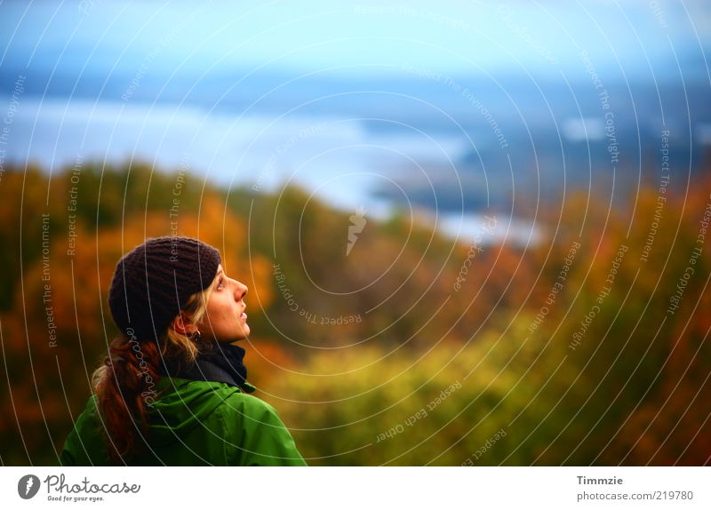 Human being Nature Youth (Young adults) Vacation & Travel Calm Loneliness Far-off places Forest Relaxation Autumn Feminine Mountain Freedom Landscape Adults