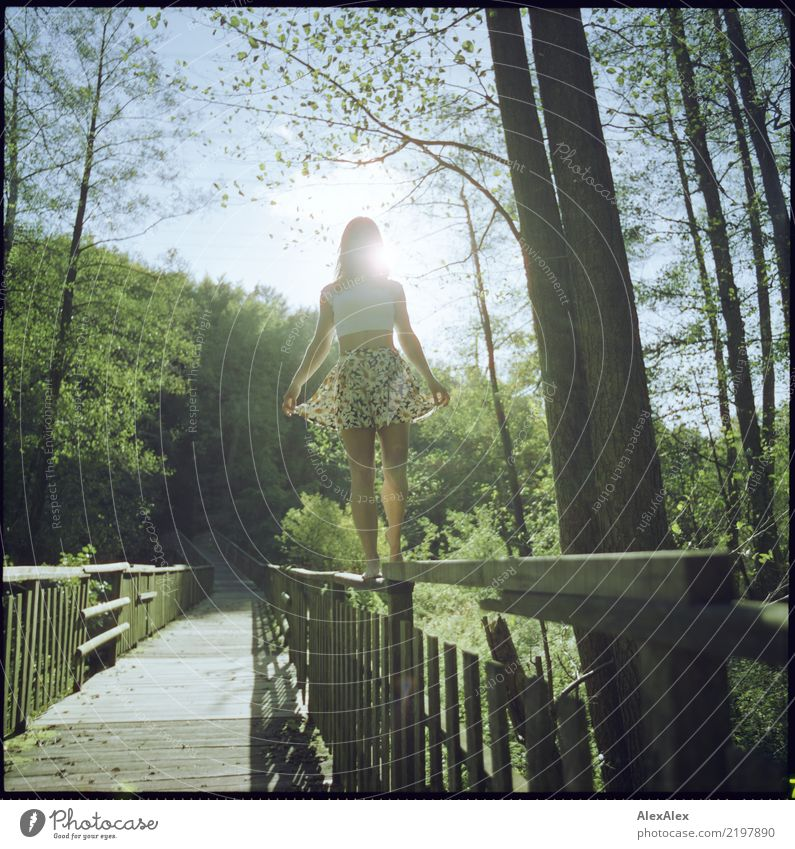 cross-country Life Trip Adventure Young woman Youth (Young adults) Legs 18 - 30 years Adults Landscape Summer Beautiful weather Tree Forest Wooden bridge