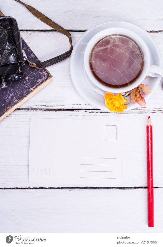 paper empty postcard with red pencil Vacation & Travel White Flower Yellow Wood Retro Fresh Vantage point Book Paper Beverage Card Hot Camera Breakfast Tea