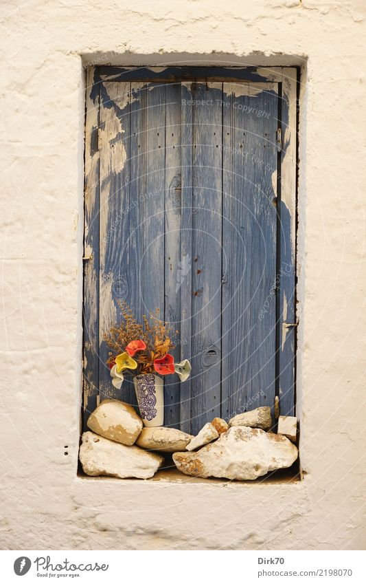 Cretan window with ceramic flowers Lifestyle Style Tourism Living or residing Flat (apartment) Garden Decoration Arts and crafts  Pottery Flower Crete Village