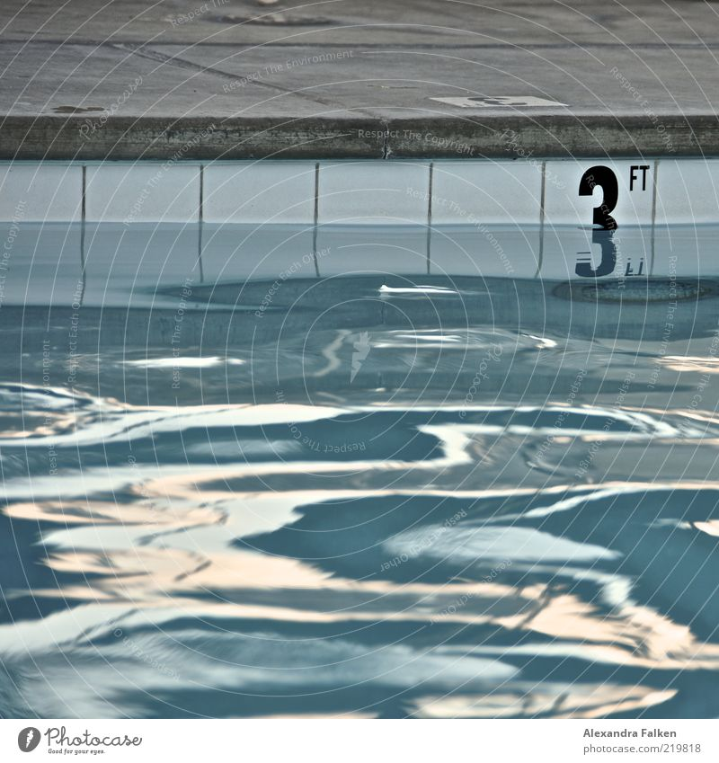 Blue Water Sports Waves Wet 3 Digits and numbers Swimming pool Fitness Tile Deep Damp Sports Training Surface of water Flat Aquatics