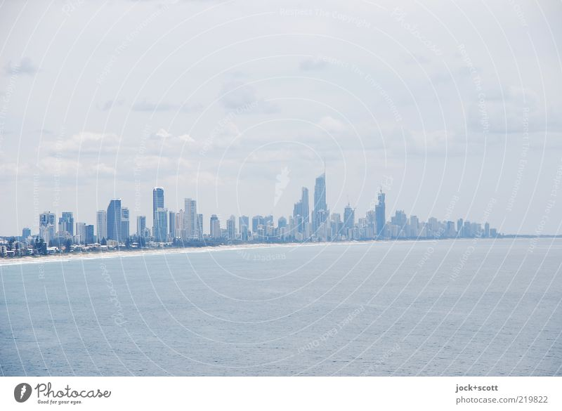 Sky City Water Ocean Far-off places Environment Coast Line Air Growth Modern High-rise Perspective Esthetic Future Tower
