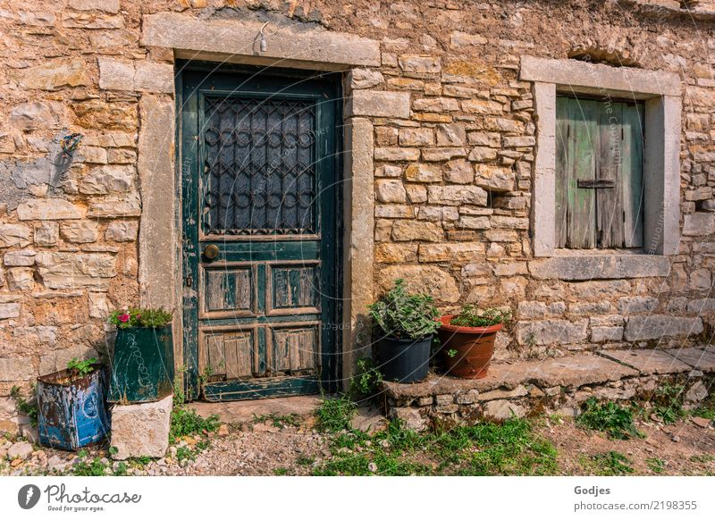 Facade, Old Perithia Earth Plant Grass Agricultural crop Pot plant Corfu Village Deserted Wall (barrier) Wall (building) Window Door Doorknob Shutter Blue Brown