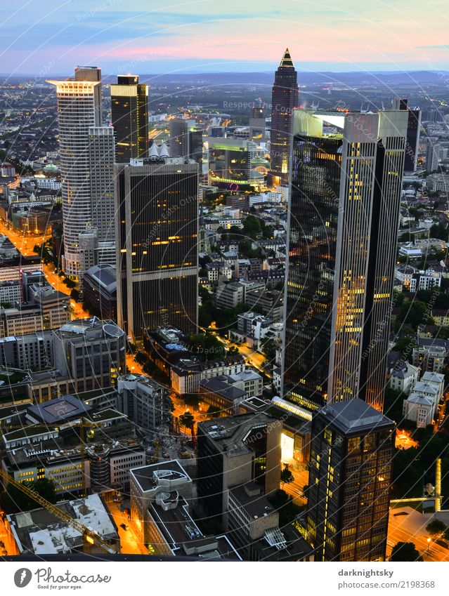 Panorama of the banking district of Frankfurt am Main Office work Financial Industry Stock market Financial institution Germany Europe Town Downtown Skyline
