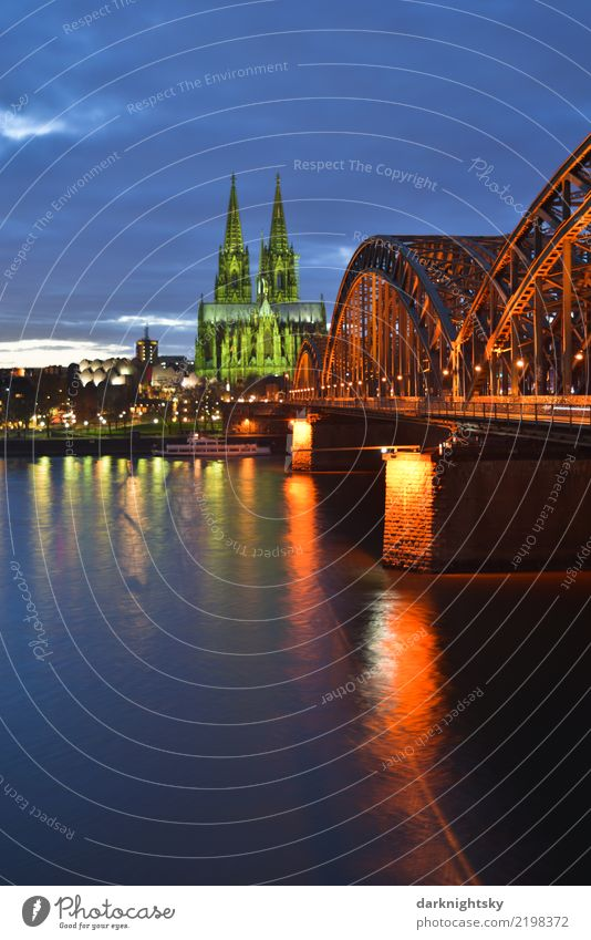 Cologne Panorama at Evening Time with Cologne Cathedral Landscape Water Sky Night sky Sunrise Sunset River bank Rhine Cologne-Deutz Town Federal eagle Germany