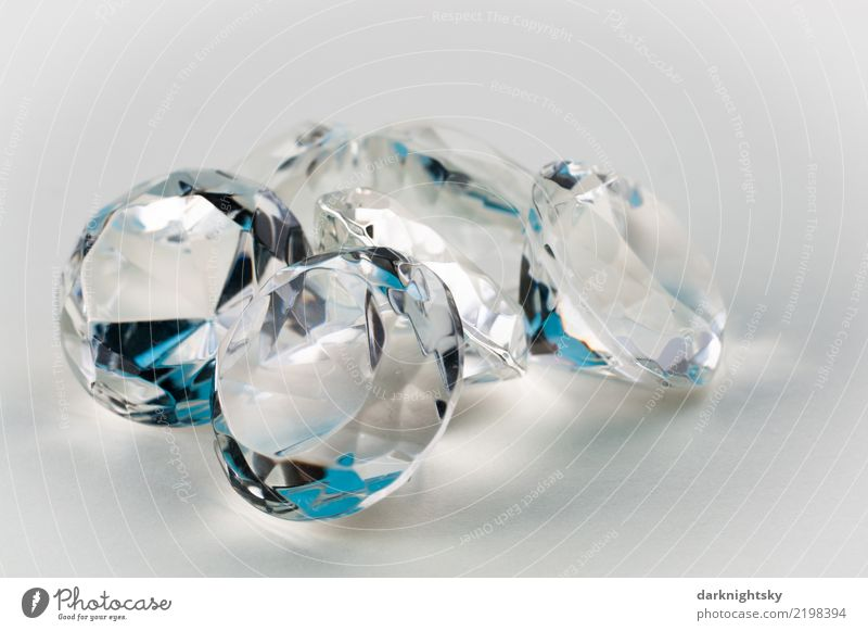 Five transparent diamonds with blue accents Elegant Design Happy Save Industry Financial Industry Stock market Financial institution Business investment
