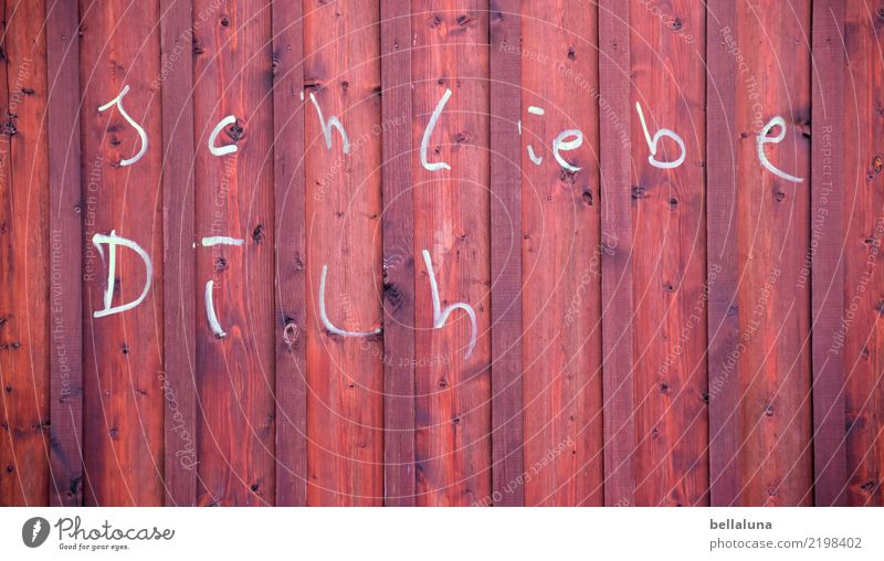 I love you... Lifestyle Flirt Art Work of art Deserted Wall (barrier) Wall (building) Facade Brown White Love Wood Wooden fence Wooden wall Characters