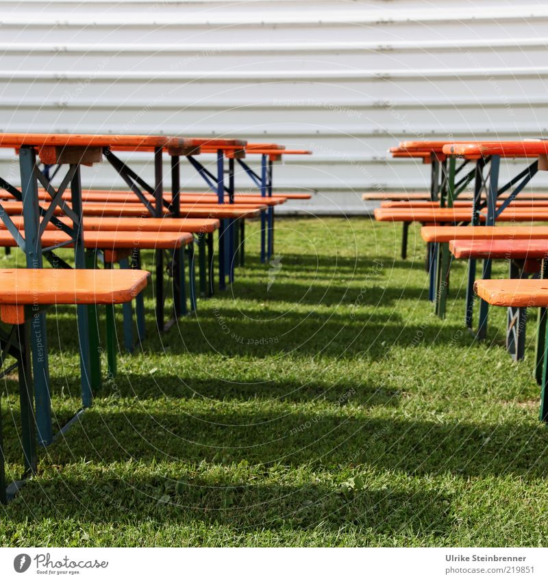 Meadow Grass Wood Line Metal Facade Empty Bench Stand Parallel Structures and shapes Beer table Corrugated iron wall