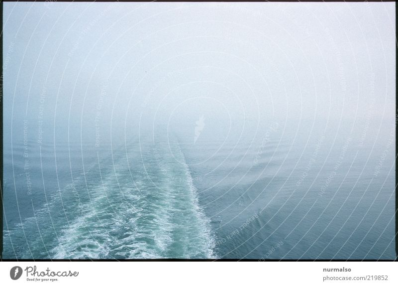 out of the fog Trip Cruise Ocean Winter Environment Nature Elements Water Climate Bad weather Fog Waves Baltic Sea Navigation Passenger ship Ferry Dark Infinity