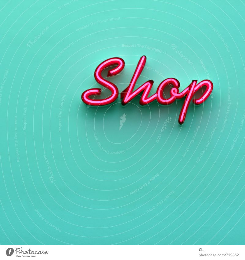 shop Lifestyle Esthetic Turquoise Magenta Pink Typography Neon sign Capitalism Entrance Wall (building) Neutral Background Characters Light Illuminate