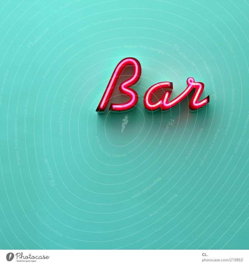in cash Lifestyle Night life Going out Clubbing Cool (slang) Bar Gastronomy Turquoise Magenta Pink Neon sign Typography Wall (building) Deserted Copy Space left