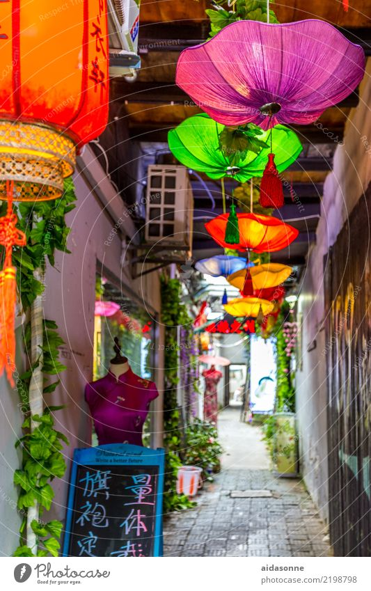 Xitang China Asia Town Old town Deserted House (Residential Structure) Building Dream Vacation & Travel Sunshade Lamp Lantern Colour photo Multicoloured