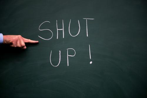 Shut the fuck up! Lifestyle Parenting Education Child School Classroom Blackboard Student Trade Call center Business SME Company Career Human being Man Adults