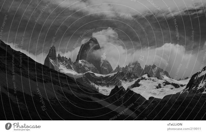 Fitz Roy Environment Nature Landscape Clouds Wind Fog Mountain Snowcapped peak El Chaltén South America Cold Black & white photo Exterior shot Deserted