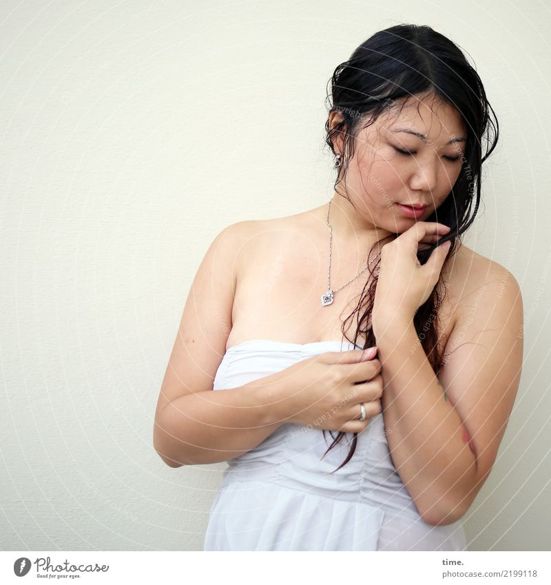 . Feminine Woman Adults 1 Human being Wall (barrier) Wall (building) Dress Jewellery Brunette Long-haired Observe To hold on Looking Stand Dream Wet Beautiful