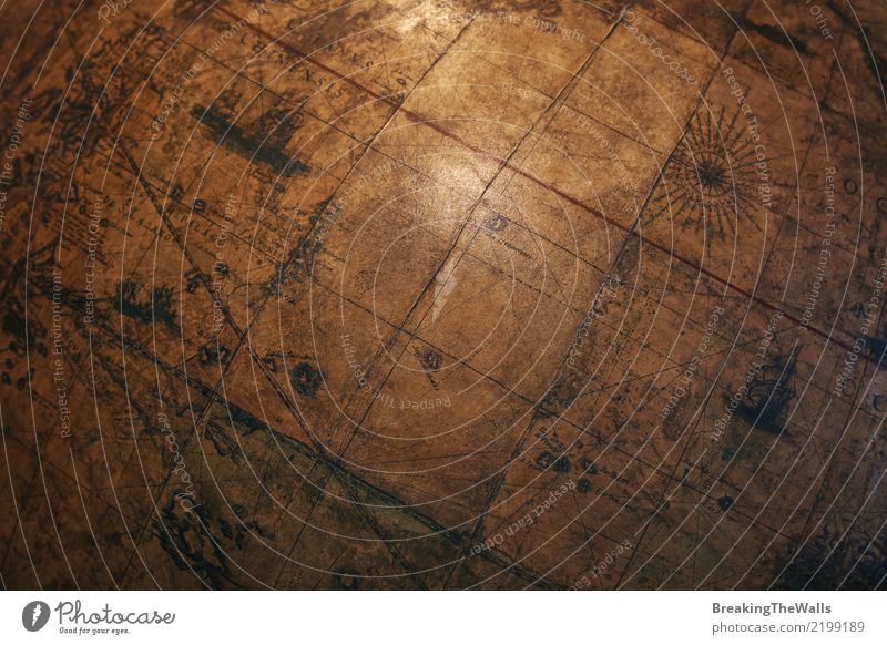 Old vintage brown globe map sphere close up Dark Background picture School Earth Brown Retro Historic Discover Tilt Education Map Science & Research Vintage