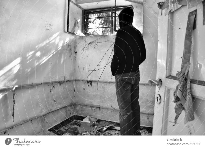 a brighter view Man Old White Black Window Bright Room Dirty Adults Flat (apartment) Door Gloomy Trash Derelict Decline Ruin