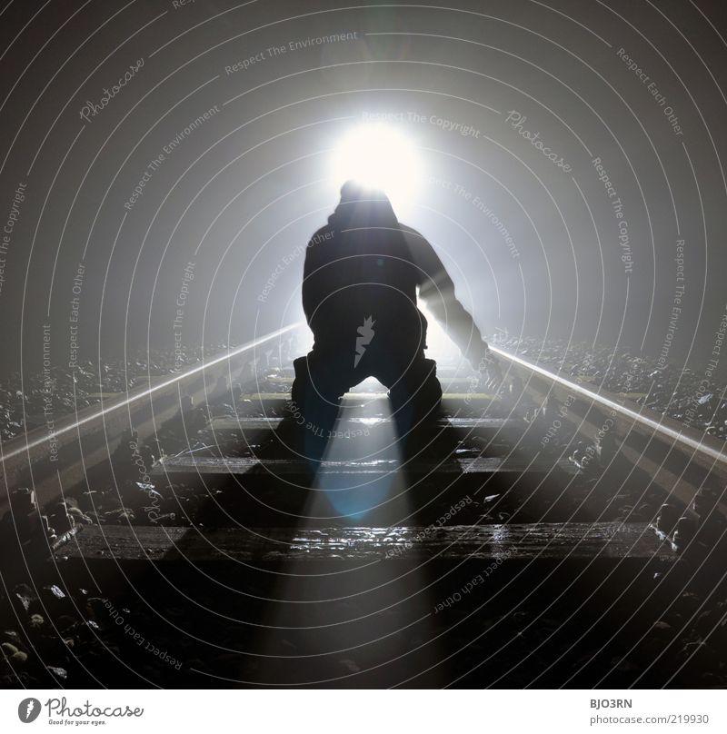 Man White Black Loneliness Dark Emotions Death Dream Fear Adults Railroad Near Threat End Railroad tracks Creepy