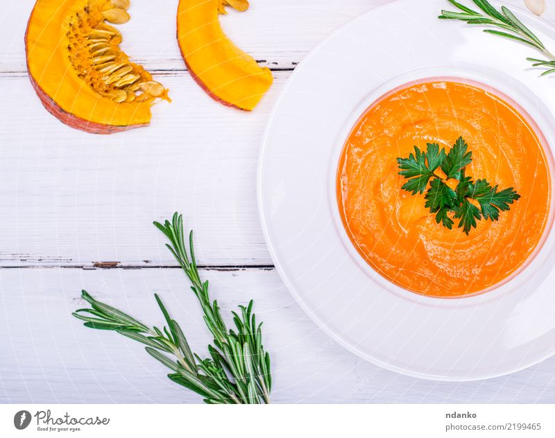 creamy pumpkin soup Vegetable Soup Stew Eating Lunch Dinner Vegetarian diet Diet Plate Healthy Eating Table Hallowe'en Autumn Wood Fresh Yellow Orange White