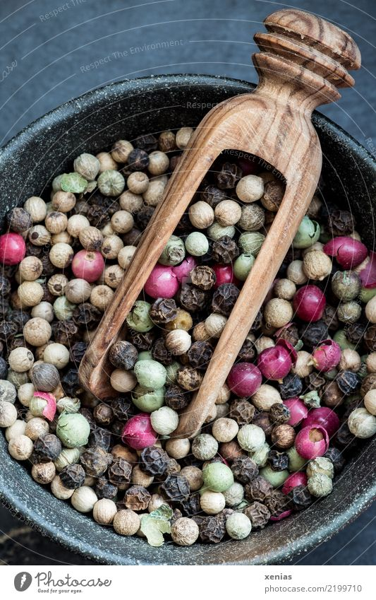 colourful pepper mixture Food Herbs and spices Pepper Peppercorn pink berries white pepper black pepper Green Pepper Nutrition Organic produce Bowl Spoon chute
