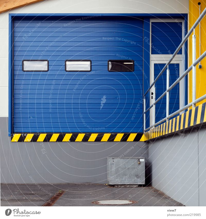 Blue Wall (building) Above Stone Wall (barrier) Line Metal Facade Modern Esthetic Logistics Car door Stripe Gate Entrance Trade