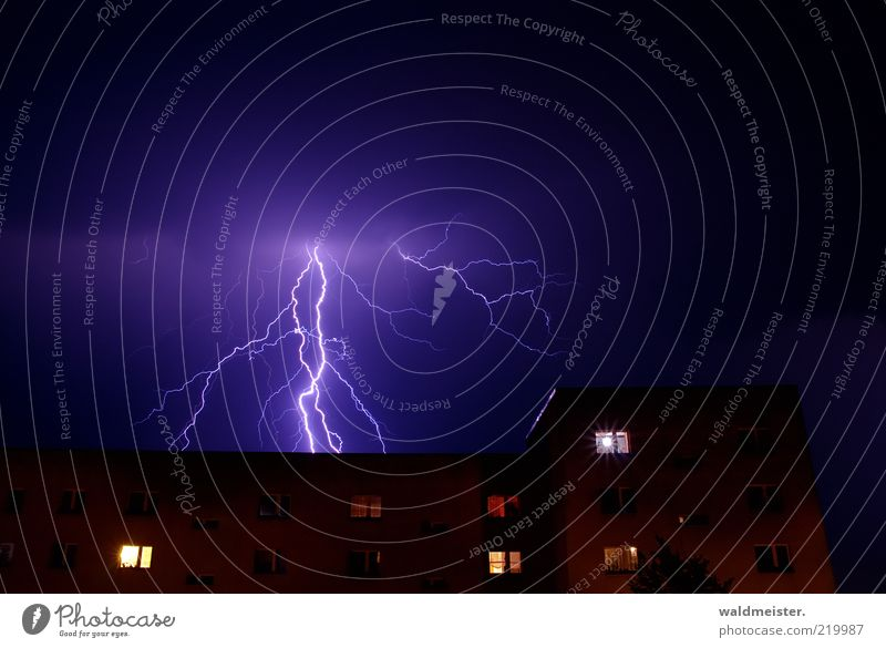 thunderstorm photo Environment Weather Bad weather Storm Thunder and lightning Lightning House (Residential Structure) High-rise Aggression Esthetic Fear Threat