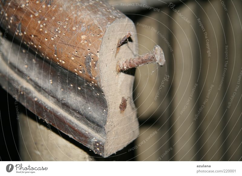 Wood Brown Transience Decline Rust Handrail Banister Nail Screw Old building Cobwebby Consumed