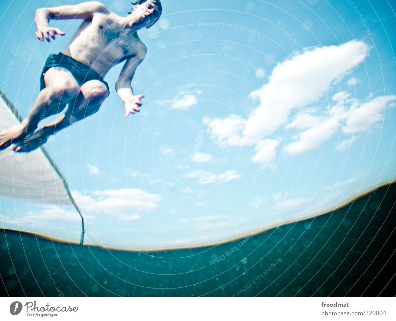 Man Water Youth (Young adults) Blue Summer Clouds Calm Sports Jump Adults Lake Wait Wet Leisure and hobbies Flying