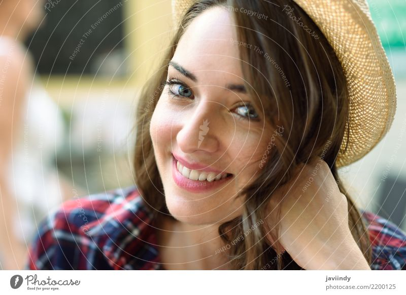 Close-up portrait of young woman with beautiful blue eyes Woman Human being Youth (Young adults) Young woman Summer Beautiful White 18 - 30 years Face Adults
