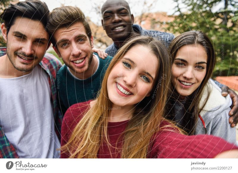 Multiracial group of friends taking selfie in a urban park Woman Human being Vacation & Travel Youth (Young adults) Man Beautiful Joy 18 - 30 years Adults