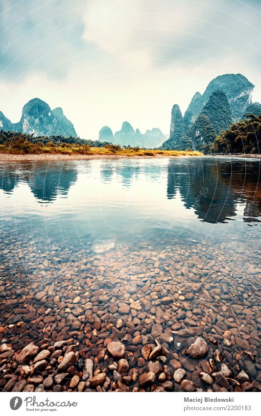 Lijiang River landscape, China. Nature Vacation & Travel Landscape Clouds Mountain Environment Trip Dream Adventure Hill Asia River bank Storm Camping